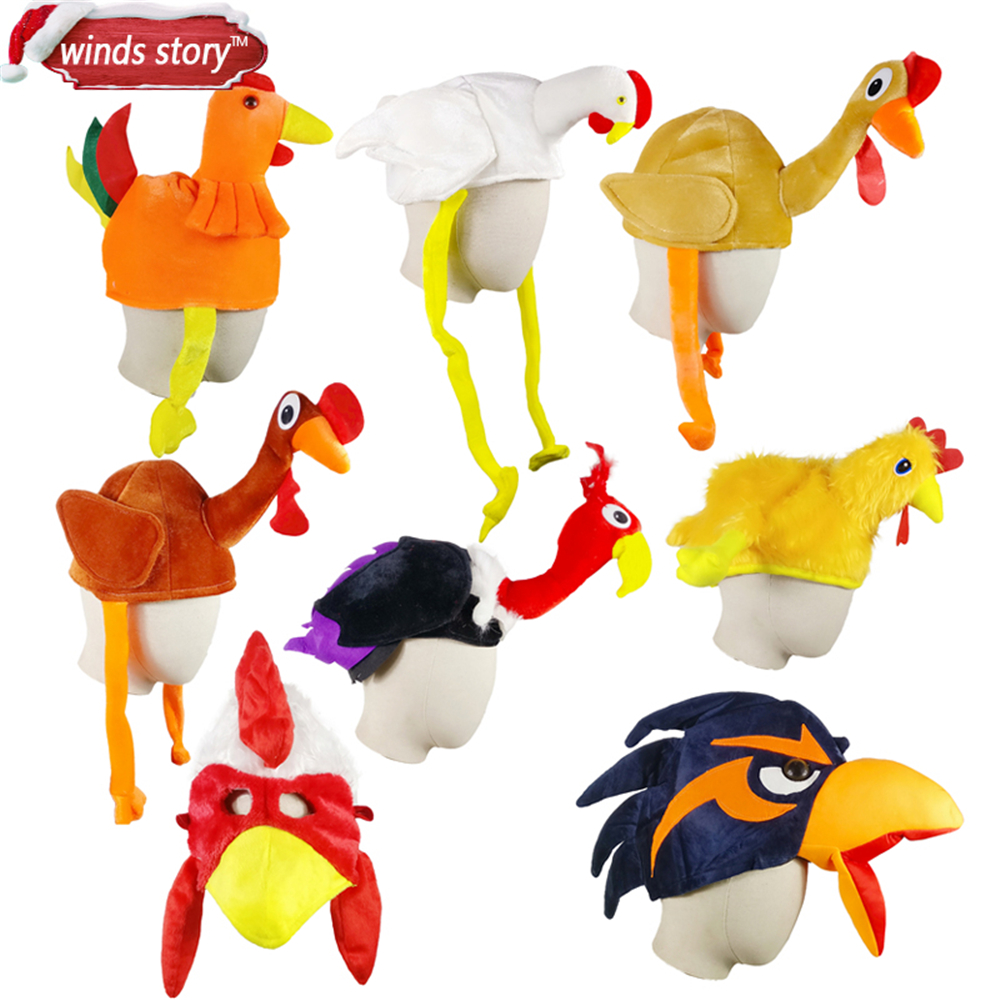 NEW 1pc Adult Child Cute Chicken Head Mask Plush Rooster Hat Farm Animal Bird Party Halloween Costume Accessory Gift Chicken hat