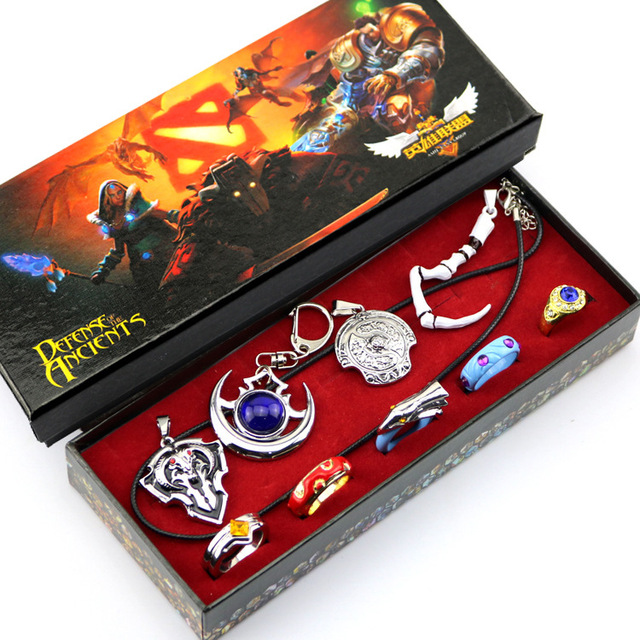 9pcs Anime Game Dota 2 Aghanim's Scepter God Rod Pendant Necklace Rings Keychain Cosplay Jewelry Accessories for Party Halloween 1