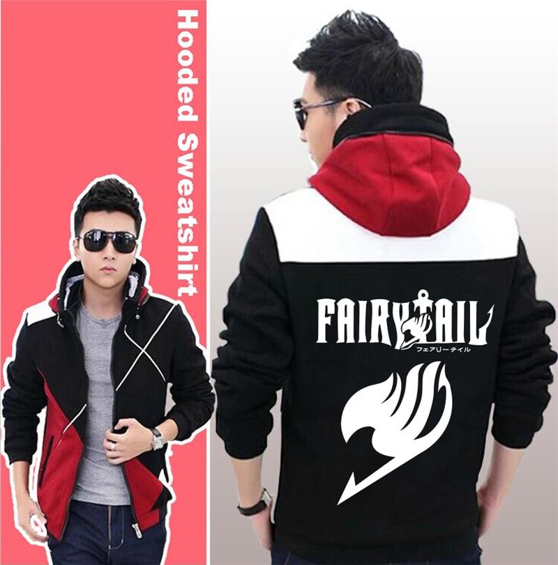 Black Unisex Anime Fairy Tail Casual Hooded Sweatshirt Hoodie Sportwear Jacket Coat