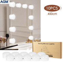 AGM Mirror Light LED Vanity Lights Makeup Table Hollywood Lamp 10 String 6500~7000K Dropship