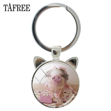 TAFREE Lovely Pet Piglet Ear Keychains Charm Hot Sale Metal Silver Color Key Chain Ring Car Handbags Men Women Jewelry QF730