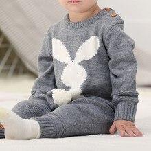 Детские комбинезоны; Комплект для новорожденных; Детский комбинезон с кроликом; комбинезон с длинными рукавами; Одежда для маленьких мальчиков; Осенняя трикотажная повседневная одежда для маленьких девочек