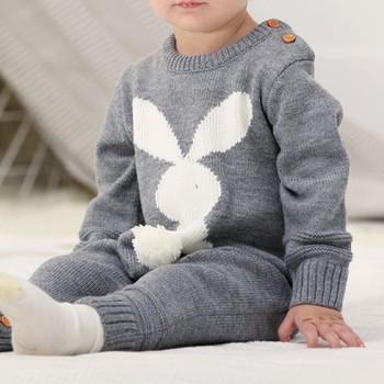 Śpioszki dla niemowląt zestaw noworodka królik kombinezon dla niemowląt ogólnie długi rękaw dla niemowląt chłopców ubrania jesień dzianiny dziewczyny dziecko odzież codzienna tanie i dobre opinie Kacakid COTTON Poliester Cartoon Unisex Swetry Pajacyki Pełna O-neck Baby Romper Set 3D Rabbit Baby Jumpsuit Overall Long Sleevele Baby Boy