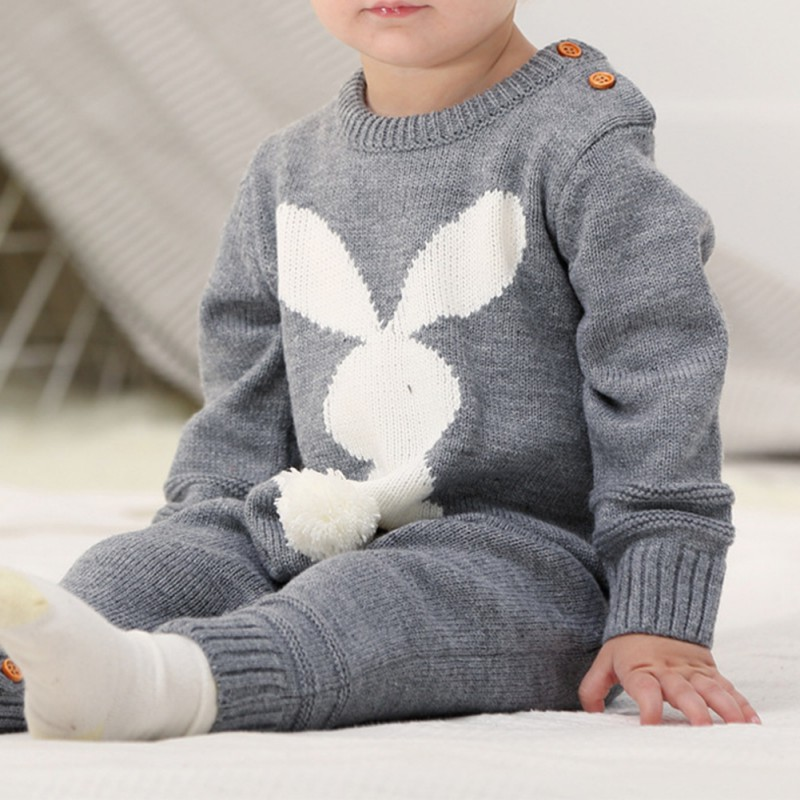 Baywell Baby Girls Romper Cartoon Rabbit Printed knitted jumpsuit