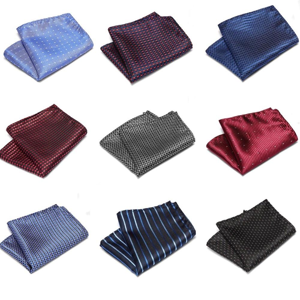 Mens Wedding Pocket Square Silk  Men Suit Accessories Tie Men's Handkerchief Accessories Jacquard Solid Dots Stripes Paisley