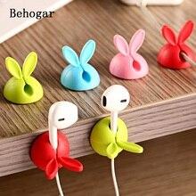 Behogar 4pcs Rabbit Ear Silicone Desktop Desk Winder Cable Organizer Cord Wire Office Computer Headphone Holder