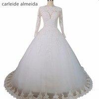 Vestido de noiva Long Sleeves Wedding Dresses Sexy Back Bride Dresses Wedding Gowns Princess Casamento Robe de Mariage