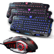 Russian EN Version Wired LED Adjustable 3 Colors Backlit Backlight Gaming Keyboard + 3200DPI Gamer Laser Mouse USB Wired Mice