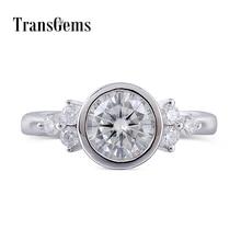 Center 1ct Lab Grown Moissanite Diamond 14K White Gold 6.5MM F Color Moissanite Bezel Setting Gold Engagement Ring for Women