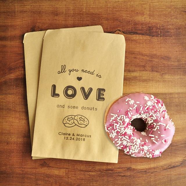 Donut Favor Bag Wedding Personalized Name Date Kraft