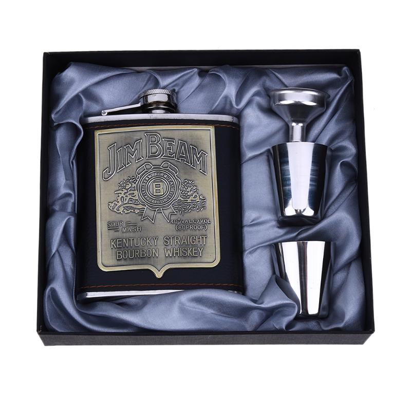 4pcs/set Whisky Flagon Alcohol Hip Flask Stainless Steel Wine Pot Set High Quality Portable Wine Whisky Pot Bottle as Gift