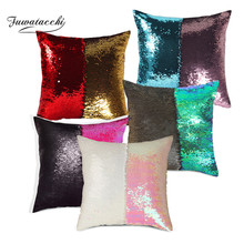 Fuwatacchi Mermaid Sequins Cushion Cover  Reversible Sequin Pillowcases 40*40cm For Sofa Chair Decor Magical Throw