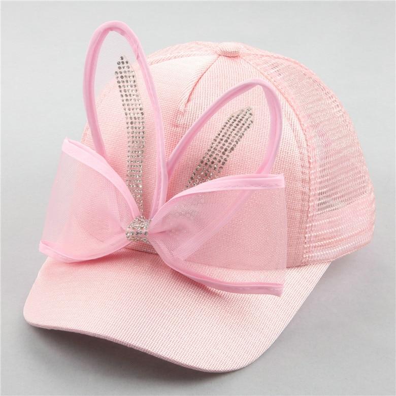 New baby hats Korean childrens hat cartoon bow rabbit ears baseball caps girls princess spring and summer sun hat caps beanies