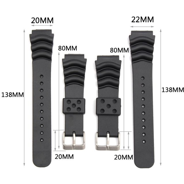 20/22mm Diver Rubber Watchband Black Soft Silicone Replacement Wrist Strap Brace