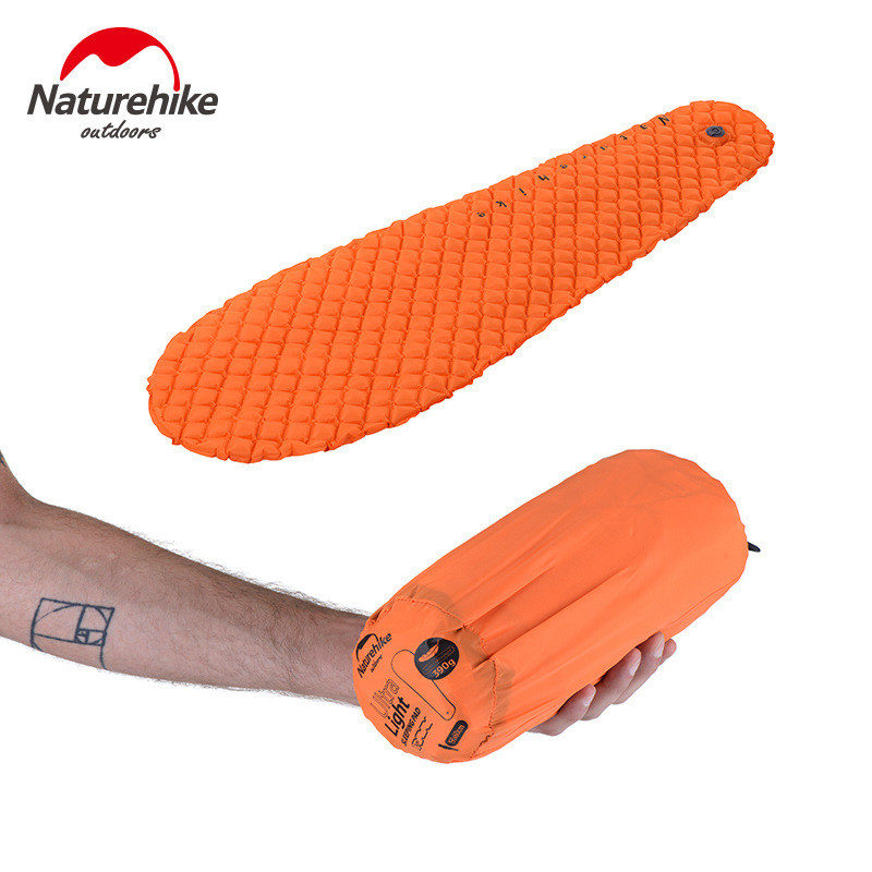 ФОТО Naturehike Outdoor Inflatable Single Mummy Sleeping Pad Camping Cushion Moistureproof Air Bed Mats Super Light Portable 380g