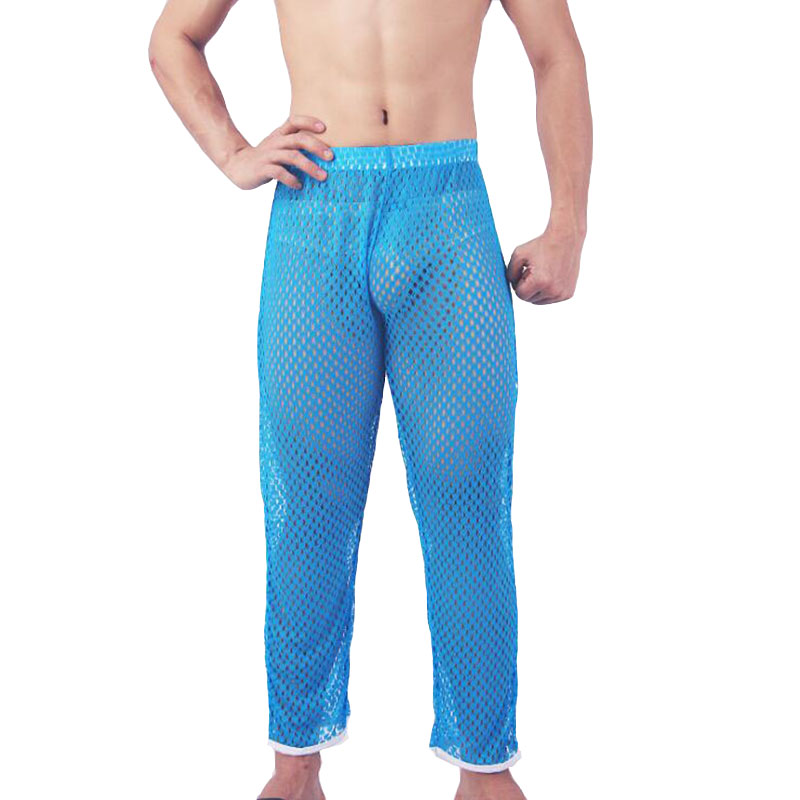 Pajamas For Men See Through Sleepwear Pijama Hombre Honeycomb Breathable Mesh Nightgown Pajama Pants Sexy Men's Underpants