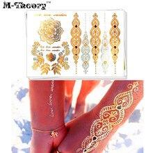 M-Theory 3D Metallic Gold Choker Makeup Temporary Tattoos Body Art Hamsa Lace Tatuagem Flash Tattoos Stickers Swimsuit Makeup To