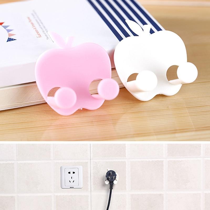 1PC Hot Sale Apple Decorative Multifunctional Socket Hook Power Line Plastic Holder Sticky Hook Key Holders