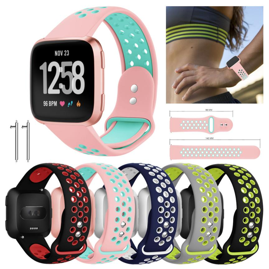 Replacement With Ventilation Holes Soft Silicone Sport Strap For Fitbit Versa