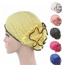 Moslim Vrouwen Elastische Bloemenprint Tulband Hoed Zomer Chemo Mutsen Caps Headwrap Hijab Haaruitval Cover Accessoires Voor Kanker