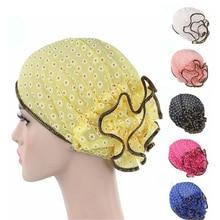 Muslim Women Elastic Floral Print Turban Hat Summer Chemo Beanies Caps Headwrap Hijab Hair Loss Cover Accessories For Cancer