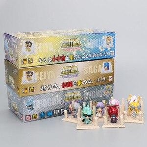 Image 1 - 21 יח\סט אנימה Seiya דמות זהב ביצת תיבת PVC פעולה איור אבירי של גלגל המזלות צעצוע דגם Q מהדורה ילדים מתנה