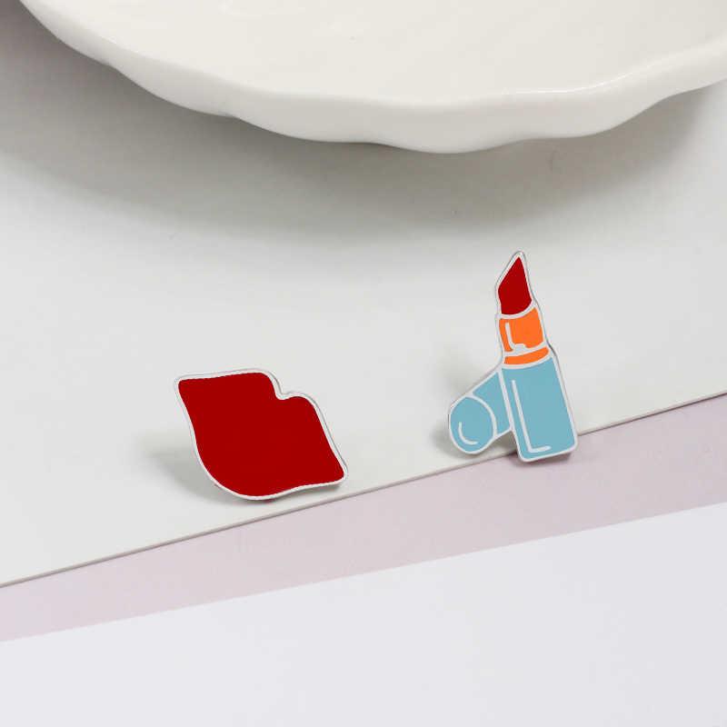 Hot Fashion Seksi Bibir Merah Enamel Pin Bros untuk Wanita Bros Kartun Lipstik Lencana Denim Aksesoris Kerah Pin Pria Perhiasan