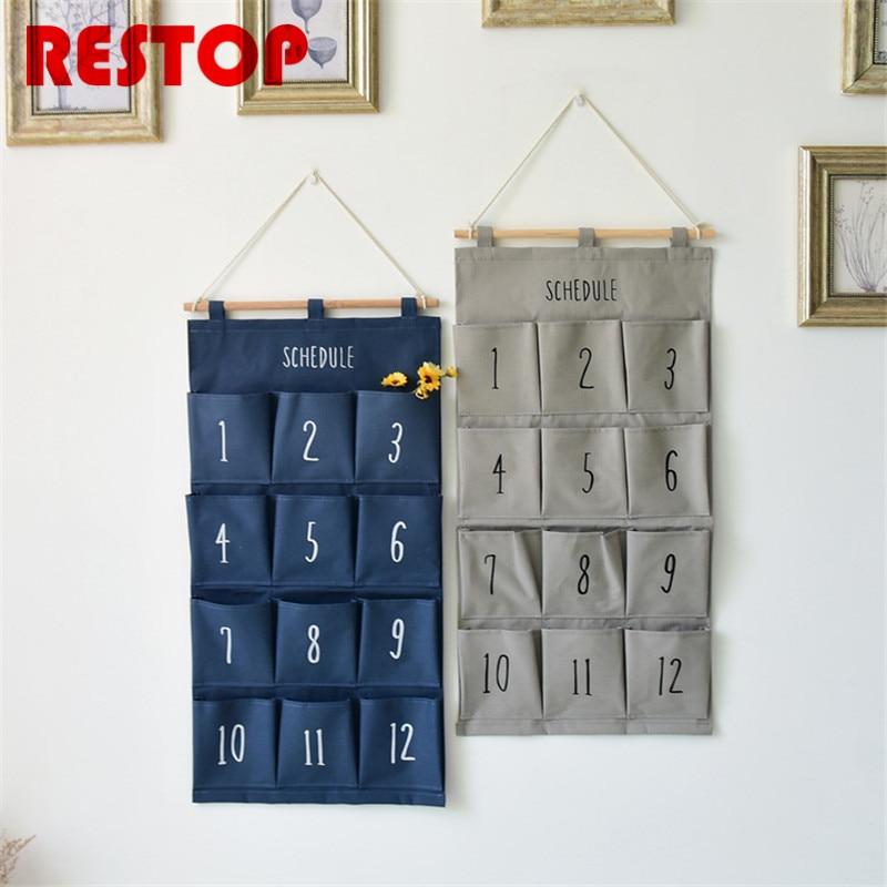 Estilo zakka 12 bolsillos bolsa de la puerta inicio organizador Bolsas de almacenamiento algodón y lino pared del baño decoración colgando bolsillo res315