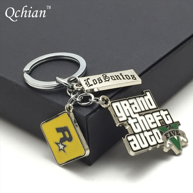 Game PS4 GTA 5 Keychain Classic Grand Mens Theft Auto GTA 5 Key Chains Xbox PC Rockstar Keychains Holder Grand Theft