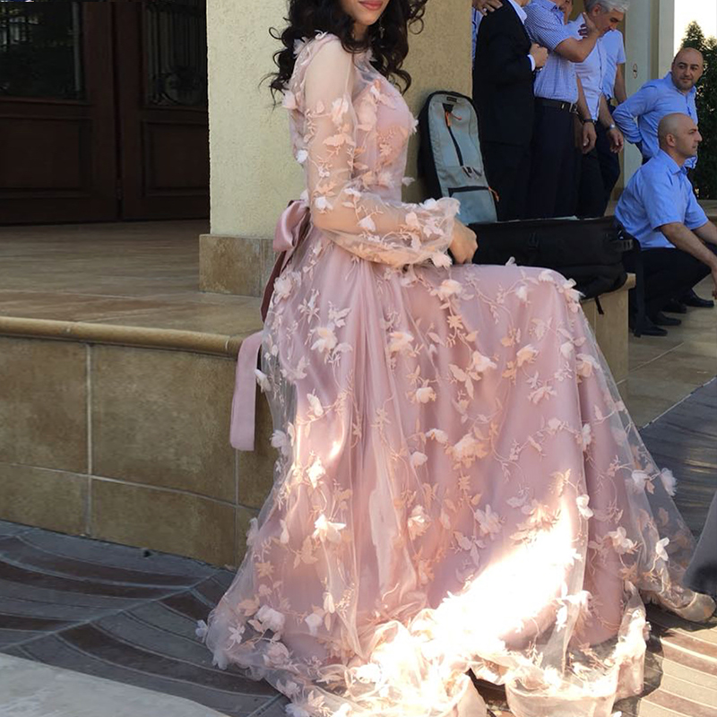 Princess Newest Long Sleeves Flower Formal Evening Dresses Long Fashion Elegant Sexy Beach Party Prom Gowns 2019
