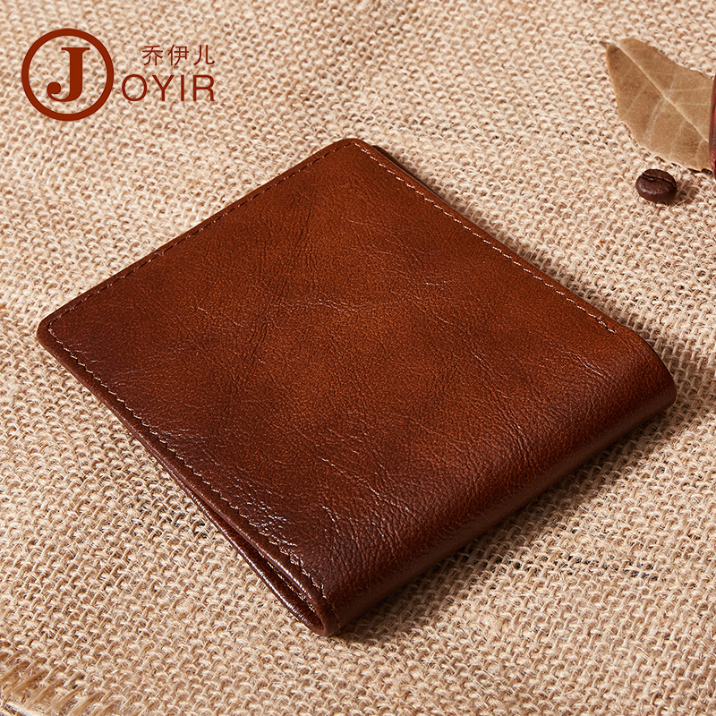 JOYIR Genuine Leather Men Wallets Brand High Quality Design Short Wallets Purses Gift For Men Card Holder Bifold Male Purse in Wallets from Luggage Bags