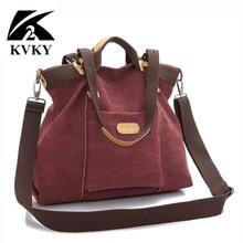 KVKY 새로운 봄 가을 캔버스 여성 가방 핸드백 메신저 가방 숙녀 고품질 숄더 가방 유명 브랜드 Crossbody 가방 bolsa