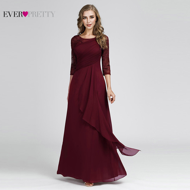Plus Size Prom Dresses 2020 Elegant Half Sleeve O-neck Burgundy A-line Sexy Chiffon Lace Appliques Cheap Vestidos De Festa 3