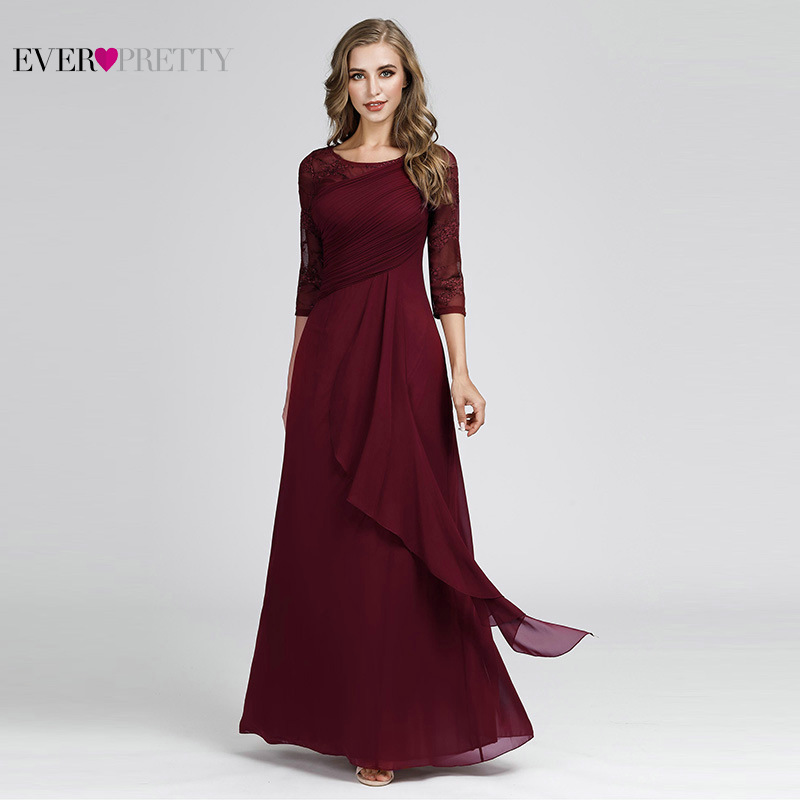 Image 3 - Plus Size Prom Dresses 2019 Elegant Half Sleeve O neck Burgundy A line Sexy Chiffon Lace Appliques Cheap Vestidos De Festa-in Prom Dresses from Weddings & Events