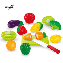mylb 12PCS Toys For Children Fruit & Vegdtable Pretend Play Food Set Cutting Kids Kitchen Toys for children birthday gift(China)