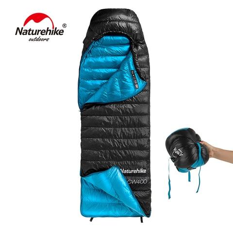 naturehike saco de dormir tipo envelope cw400 ganso branco para baixo saco de dormir de
