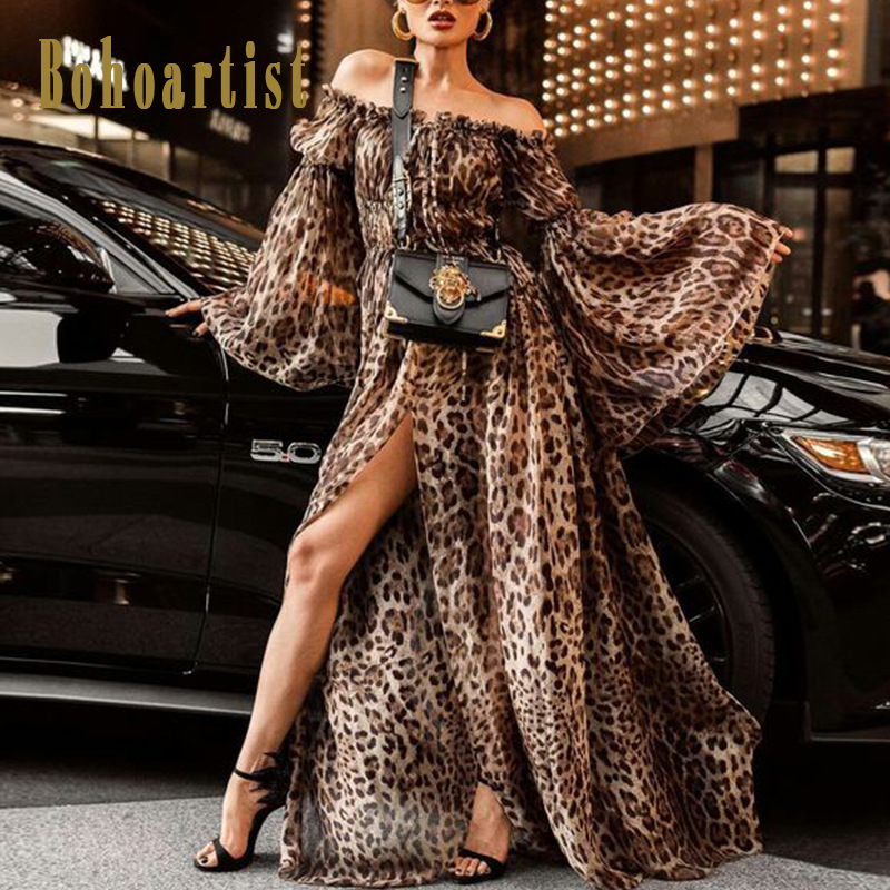 Bohoartist Autumn New Maxi Dress Bohemian Leopard Loose Star Style Swing Dress Slash Neck Sexy 2018 Fashion Women's Long Dress