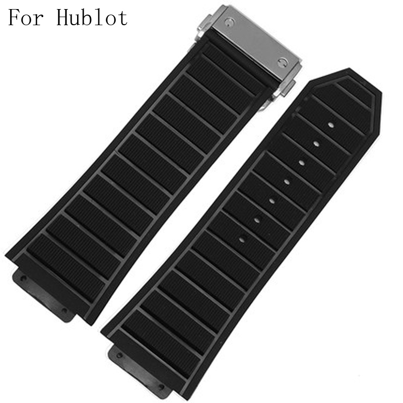 29mm*19mm Black Natural Rubber Watch Strap Wrist Belt ,Watchband With Deployment Buckle Clasp For HUBLO Watch T With LogoLOGO beautiful cartoon rubber strap quartz watch with plane and cloud shaped watchband for children azure