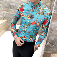 Slim Fit Mens Ethnic Style Floral Printing Shirt Flower Flag Pattern Men Fashion Colorful Shirts Club Prom Camisa Masculina S71