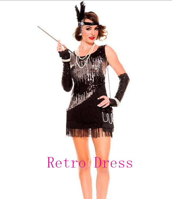 halloween costumes for women 1920s Roaring 20s Black Sequined dress Flapper Costume Charleston Dress with boat-in Holidays Costumes from Novelty u0026 Special ...  sc 1 st  AliExpress.com & halloween costumes for women 1920s Roaring 20s Black Sequined dress ...