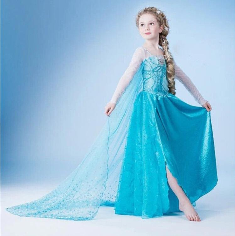 2-10Y New Year Girls Dress Cartoon Cosplay Snow Queen Princess Dress Elsa Dresses Anna Costume Clothes Baby Kids Clothing wp admin
