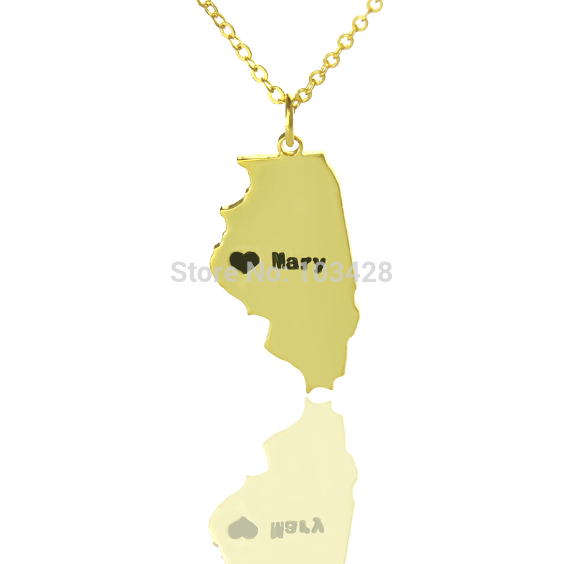 mapa colares ᗗCor de ouro Charme Personalizado EUA Mapa Colares Colares Em  mapa colares