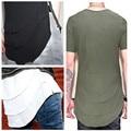 2016THE TRIPLE LAYER T-SHIRT summer style t shirt men tee shirt homme de marque hip hop streetwear Side Zipper Extended Swag top