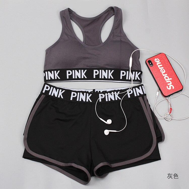 Nuevas mujeres Vs secreto Rosa carta sujetador Y breve salón pantalones cortos ropa interior de Fitness inalámbrico y-line atractivo push Up Bra Sets