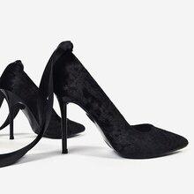 Lace Up Velvet Women High Heels