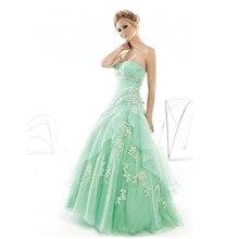 Mint Green ballkleid Abendkleid Lace-up Zurück Puffy Rock Lange Ballkleider Mit Blumen-spitze Masquerade Kleid benutzerdefinierte Größe