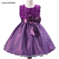 3D Rose Purple Kids Prom Dress With Big Bowknot Baby Girl Party Dresses Children Clothing Bosudhsou