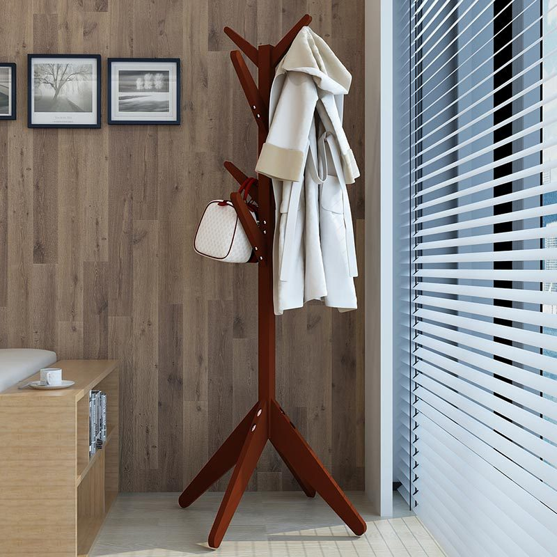 LK592 Solid Wood Hats Coat Rack Modern 8 Hooks Space-saving Clothes Shelf Multifunction Portable Floor Tree Stand Storage Rack inness sturdy coat rack solid rubber wood hall tree with tripod base suitable for aduit bule