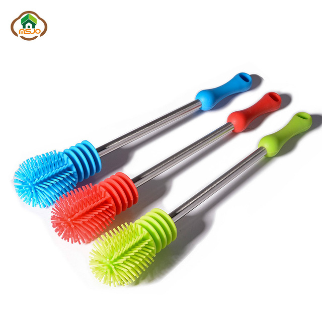 MSJO  Cleaning Brush Baby Bottle Household Silicone kitchen Cleaning Tool Long Handle Pan Bowl Water Glass Cleaner Bottle Brush