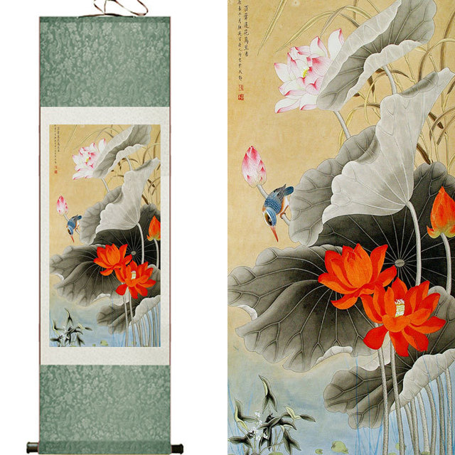 ced7e1fc4 Chinese Silk watercolor flower and birds ink Lotus lucky bird original art  canvas wall damask picture framed scroll painting